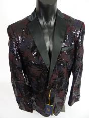 ID#SP26489 Mens Shawl Lapel Jacket Blazer Burgundy Black