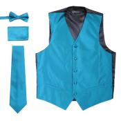 ID#SP26650 Mens Tie & Bow Tie And Hankie Solid Teal 4PC Big And Tall Vest