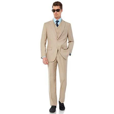 ID#AI26744 Fit Mens  Two Button Modern Tan Wedding Suit