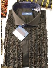 ID#SP26901 Mens Lay Down Brown Tuxedo Button Closure Dress Shirt
