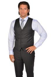 ID#SP26906 Mens Tie & Dark Charcoal Vest & Matching Dress Pants Set
