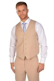 ID#SP26907 Mens Matching Dress Pants Set Beige Groomsmen Vest ~ Waistcoat ~ Waist coat & Tie