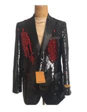 men's One Button  Black Suit