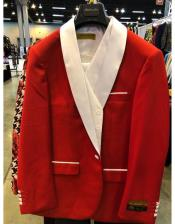 ID#AI26956 Red and White Tuxedo Double Breasted Red Cuff Link Shawl Lapel Tuxedo Perfect for Prom