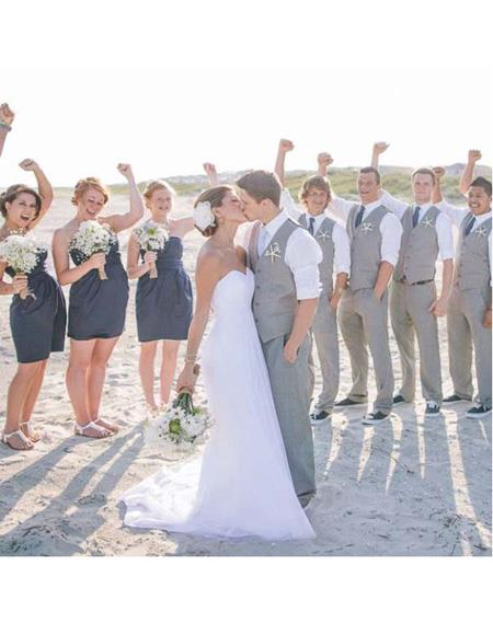 men's Four Button Grey Beach Wedding Attire Suit