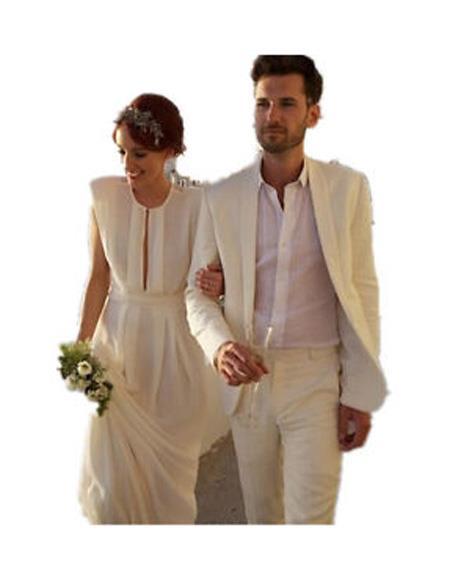men's Ivory Beach Wedding Attire Menswear Suit