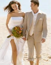 ID#AI26986 Mens Beige Wedding Beach Attire Besom Two Pockets Suit