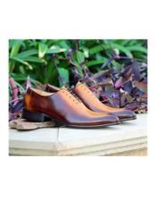 men's Light Brown ~ Cognac Deerskin & Calfskin Lace Up Carrucci Shoe