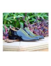 ID#AI27025 Mens Lace Up Jade Deerskin ~ Calfskin Carrucci Shoe