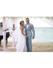 men's  Gray Beach Attire Menswear Wedding Suit