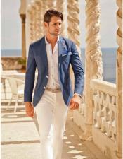 men's Flap Two Pockets Attire Beach Blue Wedding Menswear Suit