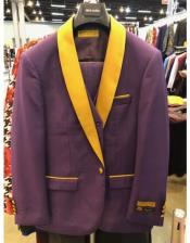 ID#SP27123 One Button Yellow Shawl Lapel Double Breasted Purple Suit