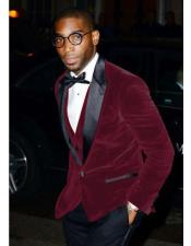 ID#AI27152 Mens Two Button Maroon  Velvet Suit