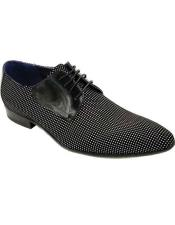 ID#AI27168 Mens Lace Up Black Dotted Upper Shoe