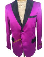 ID#AI27215 Mens  Dark Pink Tuxedo Dinner Jacket Flap Front Pockets Blazer