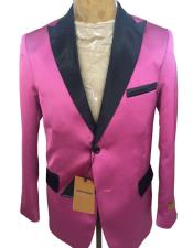 men's Two Button Tuxedo Dinner Jacket Pink Black Blazer