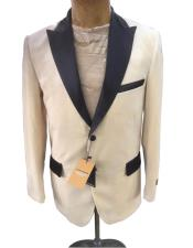 ID#AI27218 Velvet   Fabric Cream ~ Off White Tuxedo Dinner Jacket ivory and black tuxedo jacket Two Button Blazer