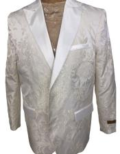 ID#AI27219 Mens Floral Pattern White ~ Silver Double Breasted Tuxedo Dinner Jacket Blazer
