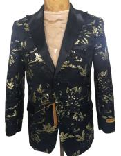 ID#AI27224 Mens  Tuxedo Dinner Jacket Black Floral Pattern Blazer
