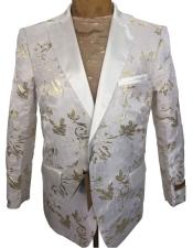 ID#AI27225 Buy Floral Blazer Mens Tuxedo Dinner Jacket White ~ Gold Floral Pattern Blazer
