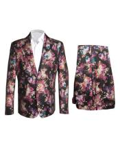 ID#AI27228 Mens Fashion Black ~ Pink ~ Red ~ Lavender Floral Flower Suit