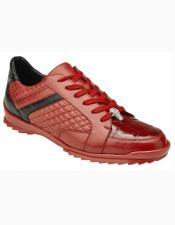 ID#SU27335 Mens Red Cushioned Insole Interior Leather Lining Lace Up Shoe