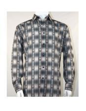 men's Pattern Stripe Full Cut Fashion Gray Long Sleeve Shirt