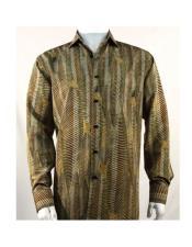 men's Full Cut Fashion Long Sleeve Pattern Green ~ Gold Shirt