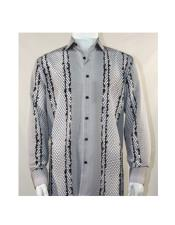 ID#SU27459 Mens Black ~ White Fashion Full Cut Long Sleeve Varied Pattern Shirt
