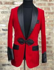 Fashion Red Velvet Blazer