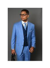 Blue REGULAR FIT PLEATED
