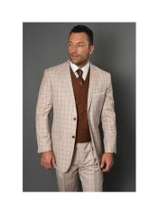 ID#SU27481 Mens Tan REGULAR FIT PLEATED PANTS Statement Brand ITALIAN Wool FABRIC With Double Breasted Vest
