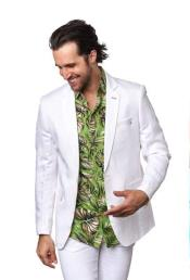 ID#SU27604 Mens Notch Label Linen For Beach Wedding outfit Affordable Cheap Priced Unique Fancy For Men Available Big Sizes on sale One Buttons White Blazer
