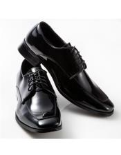 ID#SU27616 Mens Lace Up Cushioned Footbed Moc Square Design Black Shoe