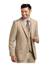 ID#SU27618 Mens One Button  Beige Slim Fit Caravelli Suits