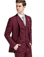 Slim Fit Burgundy Notch