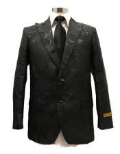 ID#SU27753 Mens Two Button Peak Label Black  Suit