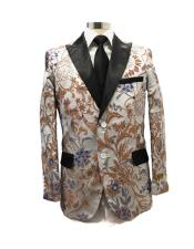 men's Silver Two Button Peak Label  Suit