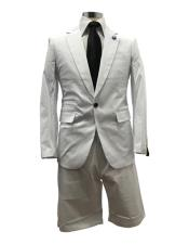 ID#SU27775 Mens  Notch Label White One Button Suit