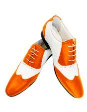ID#SU27789 Orange Alberto Nardoni Leather Two Toned Wing Tip Shoe