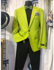ID#SU27803 Mens Neon Green ~ Bright Lime Green Affordable Cheap Priced Unique Fancy For Men Available Big Sizes on sale Blazer ~ Sport Coat