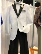 ID#SU27805 Mens Peak Lapel Two Button White Single Breasted Blazer