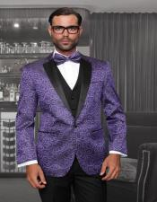 "ID#SU27826 Purple 1-Button Notch 100% Wool ""Bellagio"" Tuxedo"