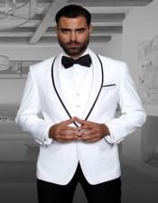 ID#SU27829 Genova White 1-Button Shawl Wool Blend Tuxedo