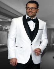 ID#SU27902 Encore White 1-Button Shawl Side Vents Tuxedo