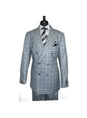ID#SU27980 Mens Double Breasted Button Closure Gray Checked Pattern Suit