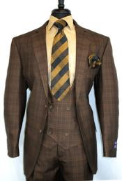 ID#SU27996 Bold Plaid Design Vinci Brown Chestnut- Plaid Vested Men's 1920s Mens Fashion Clothing 50 Checkered Suit