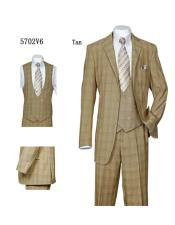 ID#SU28005 Mens Tan Double Breasted Plaid ~ Windowpane Vested 3 Piece Suit