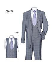 ID#SU28006 Mens Plaid ~ Windowpane Gray Vested Suit With Double Breasted Vested 3 Piece Suit