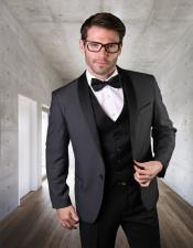 ID#SU28018 Mens Two Toned Tuxedo Affordable Cheap Priced Unique Fancy For Men Available Big Sizes on sale Dinner Jacket 1 Button Dark Charcoal Shawl Collar Blazer